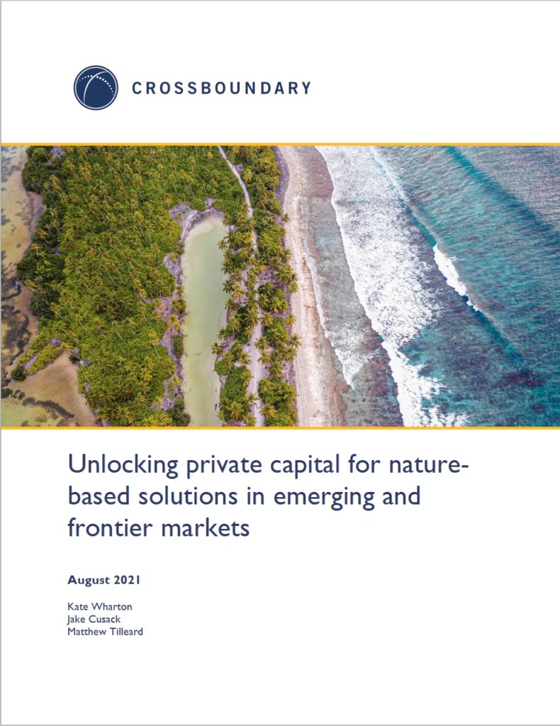 Unlocking private capital for nature-based solutions in emerging and frontier markets